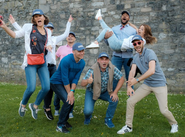 A group enjoys The Gathering festival at Guinness Storehouse Dublin.