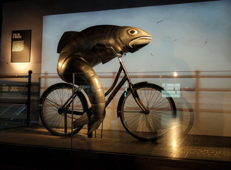 Fish on a bicycle exhibit at the Guinness Storehouse Dublin.