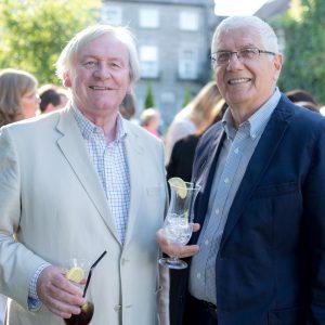 John Hourgan and Gustaf Wootis enjoy some Jin at the Gin & Jazz Midsummer Soirée. Press photo by Paul Corey.